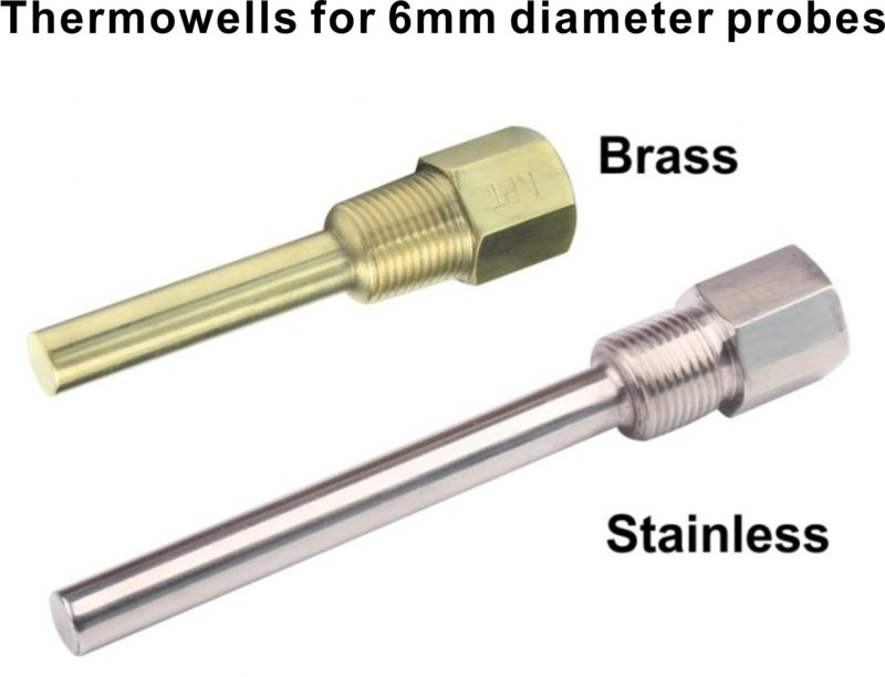Brass stainless steel thermowells bravo controls